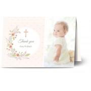Optimalprint Tackkort för dop, glansigt papper, standard-kuvert, 1 st, fotokort (1 foto), cirkel, kors, prickar, blommor, löv, vit ram, A6, vikt, Optimalprint