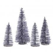 Decoris Lila kleine paarse kunst kerstboom glitter 15 cm 4 stuks