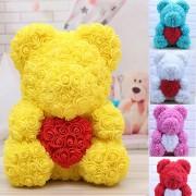 Ursulet Rose Bear din Trandafiri de spuma cu inima, in cutie cu funda, 40 cm (Culoare bijuterii: Pink)