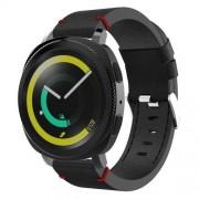 Pót szíj - valódi bőr - SAMSUNG Galaxy Gear Sport - FEKETE / PIROS varrással