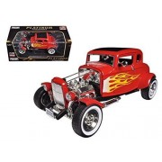 1932 Ford Hot Rod Red with Flames Limited Edition and Platinum Collection1/18 by Motormax 77172