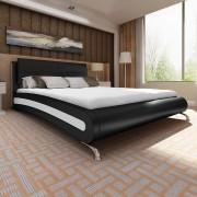 vidaXL Легло с матрак, 140 x 200 cм, изкуствена кожа, черно/бяло