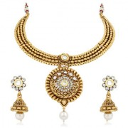 Meenaz Jewellery Gold Plated Kundan Pearl Necklace Set Mang Tikka Ear rings for girls Jewellery Set With Earrings For Wo