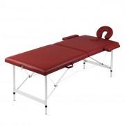 vidaXL Масажна кушетка с 2 зони, алуминиева рамка, цвят: червен