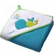 Бебешка велурена хавлия с качулка с подарък гъба за баня, 138/02 Babyono, 5901435406861