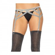 Lurex Elastic Garter Belt Silver