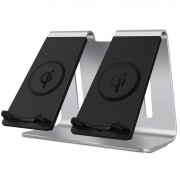 BESTAND Aluminum Alloy Bracket Double Fast Charging Wireless Charger - Silver/US Plug
