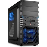 Sharkoon VG4-W Midi-Toren Zwart, Blauw computerbehuizing