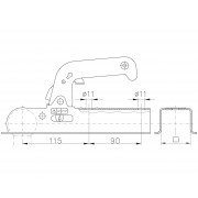 Boîtier d'attache tube carré 70 mm 800 kg + support Winterhoff WW 8-H