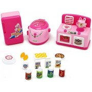 Little Treasures Mini Appliances Toy For 3+ Children Battery Operated Set Of Kitchen Appliances Such As Oven, Stove Burner And Fruit Blender All In One, Mini Fridge And Cooker With Toy Food Items