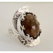 Inel argint R7244 -cuart fumuriu (MASURI IN STOC ⤵: 52 mm circumferinta sau 16,6 mm diametru interior, Piatra: cuart fumuriu, Categorie: inele)