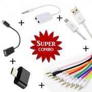 Combo of Aux Spliter OTG Cable V8 Micro USB Data Cable Aux Cable Mini OTG - Assorted Color