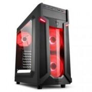 Кутия Sharkoon Middle VG6-W RED Led, ATX/Mini ITX/Micro-ATX, 2x USB 3.0, 2x USB 2.0, прозорец, 2x вентилатора отпред, 1х вентиалтор отзад, черна, с червена LED подсветка, без захранване
