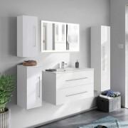 Komplett Badmöbel Set in Weiß Hochglanz LED Beleuchtung (5-teilig)