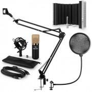 Auna MIC-900BGUSB set de micrófonos V5 micrófono de condensador protección anti pop brazo de micrófono LED dorado (60001974-V5)