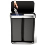 CW2054 Szelektív pedálos szemetes 58 literes beépített zsáktartóval rozsdamentes fekete