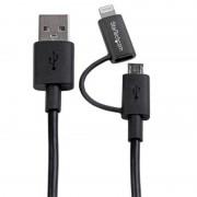 Startech Cable Adaptador Apple Lightning o Micro USB a USB 1m Negro