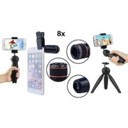Combo (C14) Mini Tripod and 8 x Lens for Tik Tok Selfie Video etc Compatible with all smartphones (Assorted)