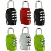 DOCOSS Set Of 6-4 Digit Brass Small Bag Locks Travel Luggage Resettable Password Combination Safety Lock(Multicolor)