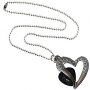 Men Style Love Heart Romanatic Black CrystalWith Silver Ball Chain Silver Cubic Zirconia Heart Pendent