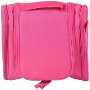 LS Letsshop Hanging Travel Men and Women Deluxe Toiletry Bag Wash Makeup Organizer Pouch Women Big Cosmetic Bags - Blue Travel Toiletry Kit Travel Toiletry Kit(Pink)