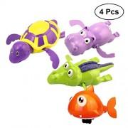 TOYMYTOY Baby Bath Toys Aquatic Animals Clockwork Playing Toys Hippo Turtle Shark Crocodile 4Pcs (Random Color)