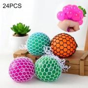 24 Pcs 5cm 3 Colores Anti - Estres Relevista Extrusión Compresión Cara De Bola De Humor Sano Uva Socorro Gracioso Tricky Vent Toy
