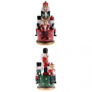 MagiDeal 2 Set 20cm Vintage Wind Up Wooden Nutcracker Soldier Music Box Toy Home Party Christmas Decoration Desktop Accessories Xmas Gift