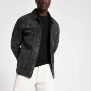 River Island Mens Black wash utility pocket denim jacket (XXL)