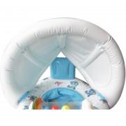 Onloon Multi-función 3 En 1 Anillo Inflable De La Nadada Del PVC Padre-hijo Para El Bebé Y El Padre Con Parasol, Blanca