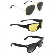 Zyaden Combo of 3 Sunglasses Aviator Night Vision & Wayfarer Sunglasses