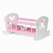 18-inch Doll Furniture Pink and White Cradle with Flower Theme Includes Bedding Fits American Girl Dolls