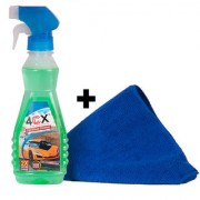 4cx Glass Cleaner with Pack One Fiber Cloth Cleaning Wipe Cleaning Cloth