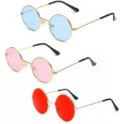 Briota Round Sunglasses(Blue, Pink, Red)