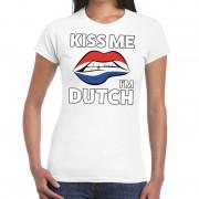 Bellatio Decorations Kiss me I am Dutch t-shirt wit dames