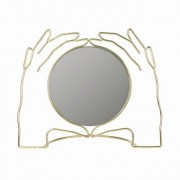 Asztali tükör, Kéz formájú Xéria, fém-üveg 21,5x26,5x8,5cm arany