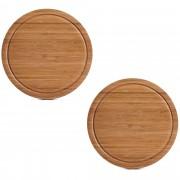 Zeller 2x Ronde bamboe houten snijplanken met sapgroef 25 cm