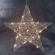 Loop - chrome-coloured LED star 47 cm