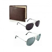 Bm fashion silver mercury black uvi protection sunglas combo with free wallet