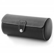 Warren Asher Coffret cylindrique en cuir synthétique noir pour montres - 3 Montres