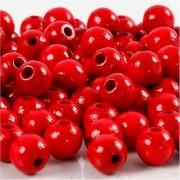 Creativ Company Träpärlor, dia. 8 mm, hålstl. 2 mm, 15 g, röd