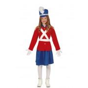 Guirca Disfraz de soldadito de plomo rojo y azul para niña - Talla 3 a 4 años