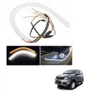 Auto Addict 2PCS 60cm (24 ) Car Headlight LED Tube Strip Flexible DRL Daytime Running Silica Gel Strip Light DC 12V Soft Tube Lamp Fancy Light (Yellow White) For Mahindra Xylo