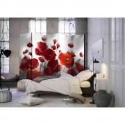 Spanische Wand mit Mohnblumen Motiv Rot und Grau