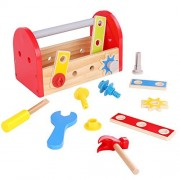 Timy Wooden Tool Box with Accessories Tools Playset Pretend Play Toy for Kids