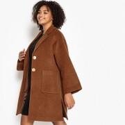 Manteau mi-long, 33% laine, fermeture boutonnée