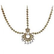 Lucky Jewellery Elegant White Color Gold Plated Kundan Stone Matha Patti Tikka For Girls & Women
