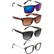 NuVew Rectangular, Wayfarer Sunglasses(Blue, Brown, Clear, Grey, Green)