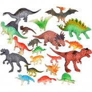 Pangda 20 Pieces Realistic Looking Dinosaurs Toys Set Dinosaur Figures Playset Including 8 Pieces Large Dinosaurs and 12 Pieces Mini Dinosaurs for Kids, Multiple Styles and Colors