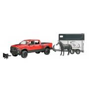 BRUDER 2501 Jeep RAM Power Wagon cu remorcă pentru transport cai
